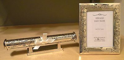"Silver Plated ""It's A Girl"" Certificate Holder w/stand & Frame for 4 x 6 photo"