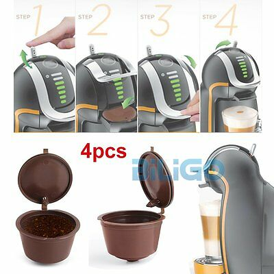 4pcs Refillable Reusable Capsules Pods For Nespresso Coffee Machines & TampSpoon