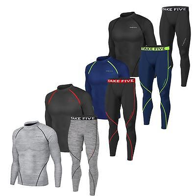 New Mens Compression Base Layer Pants + Top Armour Shirt Skin Gear Set Leggings