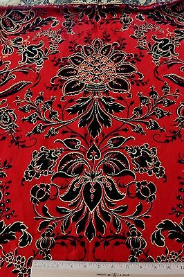 """Antique 19thc French Napoleon III Red & Black Wool Jacquard Fabric~Frame~54""""X47"""""""