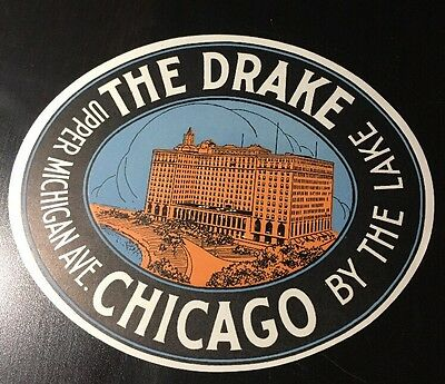 Vintage Luggage Label The Drake By The Lake Hotel Chicago Illinois NOS