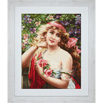 NEW Young Lady With Roses- Needlework
