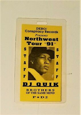 "vtg 1991 DJ QUIK ""first tour"" 2PAC Biggie NWA Public Enemy ACCESS PASS LAMINATE"