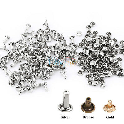 100pcs 6/8/10mm Metal Round Double Cap Rivets Leather Craft Stud Repair Tool DIY