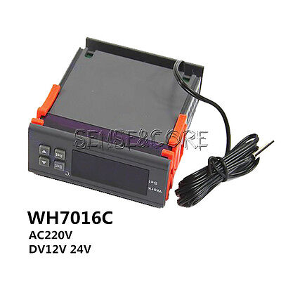 DC12/24V AC220V Digital Temperature Controller Thermostat WH7016C LCD Display
