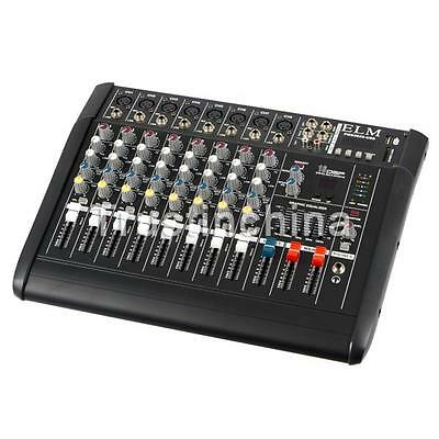 8 Channel 2000 Watt Powered Audio Mixer power mixing Amplifier Amp w/ USB Slot