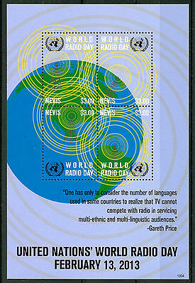 Nevis 2013 MNH United Nations World Radio Day 4v M/S Gareth Price Stamps