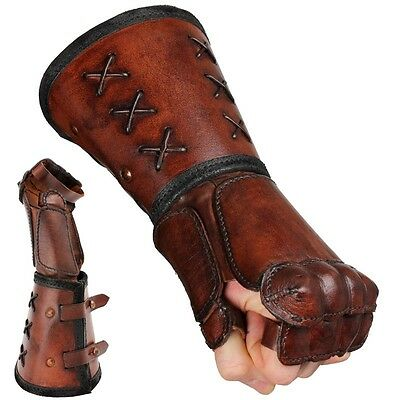 Quality Leather Gauntlet - Left Hand - Brown. Stage Costume & LARP