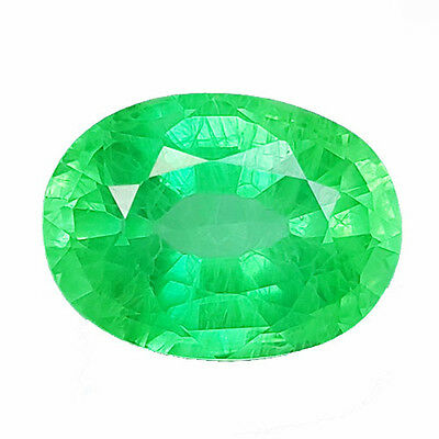 11.45 cts OVAL FACET COLOMBIAN GREEN EMERALD CHATHUM LAB CREATED
