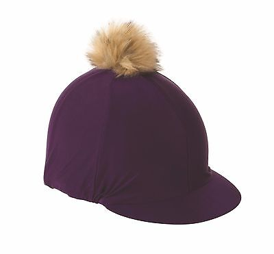 NEW Shires Faux Fur Pom Pom Coloured Stretch Skull Cap Hat Silk / Cover / Velvet