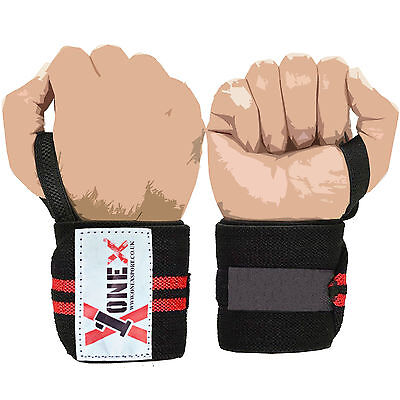 New Power Weight Lifting Wrist Wraps Supports Gym Training Fist Straps BLACK 13""