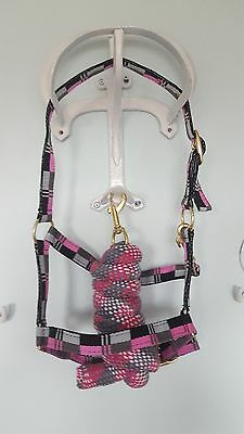 Elite Multi Coloured Headcollar And Leadrope Set Pony Cob Full Size 4 Colours