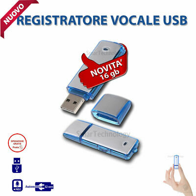 Pen Drive Registratore Vocale Usb 16Gb Mini Audio Recorder Microspia Spy Cimice