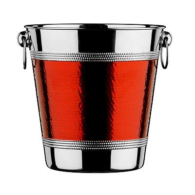 Champagne/Wine Bucket, Stainless Steel, Hammered Red Band