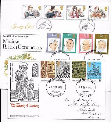 3x Post Office First Day Covers - Famous People, William Caxton, Conductors