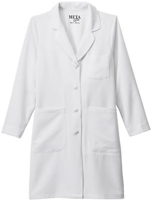 Meta Women's Long Sleeve Four Pockets Stretch Princess Seams Lab Coat. 894