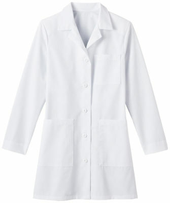 Meta Women's Long Sleeve Inside Pocket Pleated Back 35 Inches Lab Coat. 6150