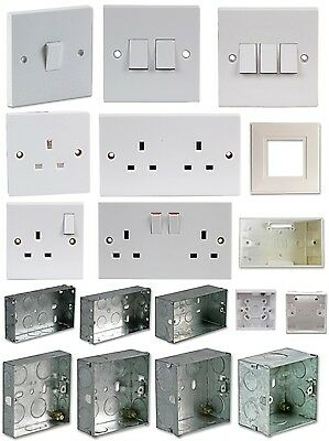 Electric Mains Wall Plug Sockets Light Switch Backbox Lighting HIGH QUALITY