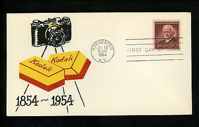 US FDC #1062 Flocked M-15 1954 Rochester NY George Eastman Kodak Camera Film