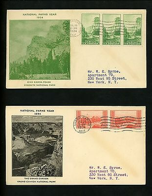 US FDC #740-749 Unknown M-2 1934 Various States National Parks Year Set of 10