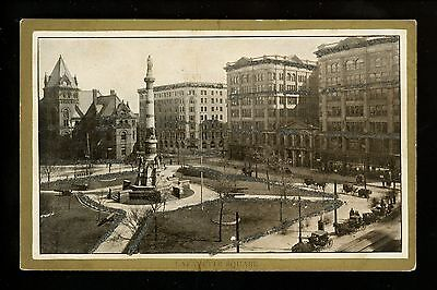 Buffalo, New York NY postcard Lafayette Square view Vintage glitter Gold Trim