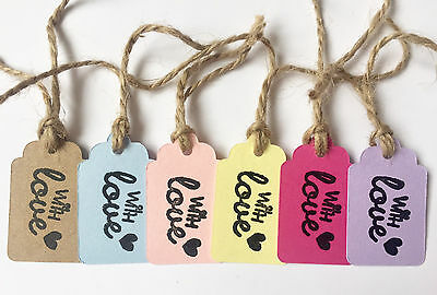 25/50/100 VINTAGE GIFT TAGS-'WITH LOVE'-3cmX5cm-WEDDING LABELS-6 COLOURS-FAVOURS