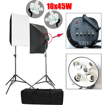 10x45W Photo Studio 5 Head Softbox Continuous Lighting Soft Box Light Stand Kit