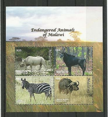 Malawi 2009 Endangered Animals Minisheet Sg,ms1035 U/mm Nh Lot 2936A
