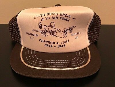 Vintage 80s 1987 456th Bomb Group Reunion Air Force Snapback Hat Military USA