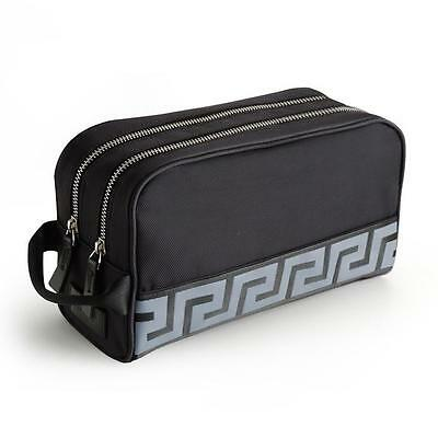 Versace Mens Black Wash Bag / Toiletry Bag, With Dust Cover