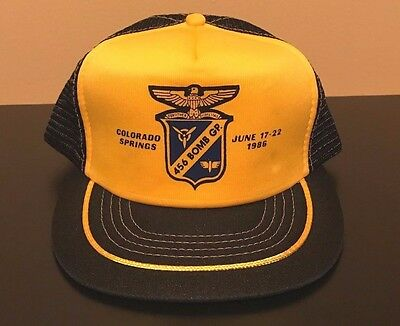 Vintage 80s 1986 456th Bomb Group Reunion Air Force Snapback Hat Military USA