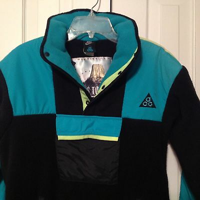 VTG NIKE ACG Wyoming Devil's Tower Fleece 80's 90's Snap T Pullover Black Teal S