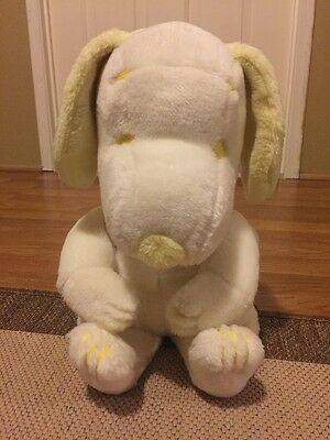 "Vintage Peanuts SNOOPY Plush Yellow White 12"" Stuffed RARE Collectible HTF"