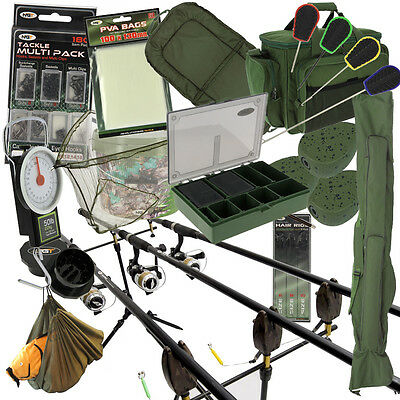 Carp Fishing 2/3 x Rod And Reel Complete Set Up + Carryall Alarms Tackle PVA Pod