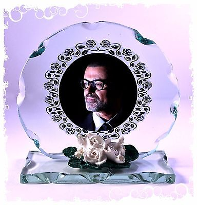 Creative George Michael memorial Cut Glass Frame Plaque keepsake  #4