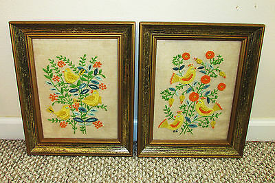 """Vintage Pair of Hand Embroidered Crewel Birds Flower Picture Framed 12"""" x 15"""""""