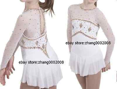 Stylish Ice skating dress.white twirling Figure Skating dress with gold crystals