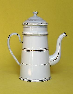 Adorable petite VINTAGE FRENCH ENAMELWARE COFFEE BIGGIN