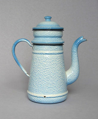 VINTAGE FRENCH ENAMELWARE COFFEE BIGGIN in a cheerful sky blue relish pattern