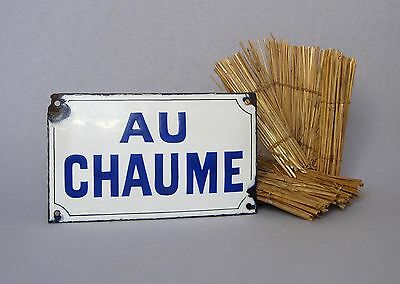 "VINTAGE FRENCH ENAMELWARE HOUSE PLAQUE ""Au Chaume"" (the thatched cottage)"