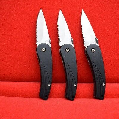 Set of 3 Stainless Steel Blade, Black Handle, with Pocket Clip Pocket Knives