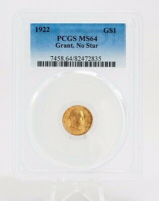1922 Gold Grant Commemorative Dollar No Star Variety PCGS MS 64