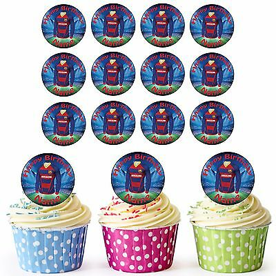 Barcelona Football 24 Personalised Precut Edible Cupcake Toppers Boys Son Party