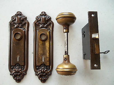 Early 1900's Ornate Victorian, Unpolished Brass Door Lock Set, Free S/H