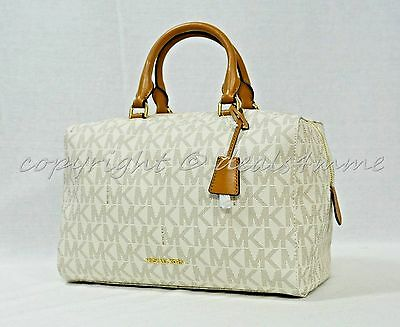 ca7268e8e05b NWT! Michael Kors Kirby Signature MK Large Satchel/Shoulder Bag in Vanilla