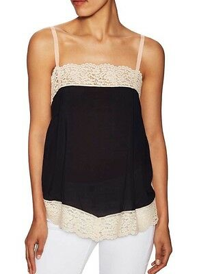 a8af905f94f6e6 NWT Free People Intimately Tish Lace Tank Top Cami Shirt Blouse Black S  Festival