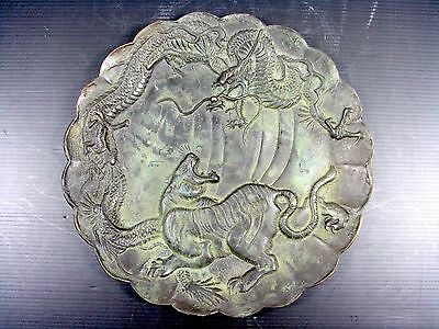 Old Chinese Bronze Plate Cast Dragon and Tiger, signed