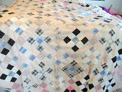 Antique 1900's Hand Stitched 9 Patch Cotton Quilt Top