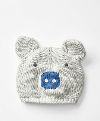 8ad2413915a GAP Baby Boys Size 0-6 Months Gray   Blue Piggy Piglet Animal Sweater Hat
