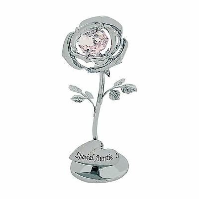 Crystocraft Silver Rose Special Auntie With Pink Strass Swarovski Crystal Gift